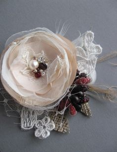 Rustic mini small bridal Hair Clip Beige ivory Burgundy flower Sand  burlap vintage inspired lace hairpiece with tulle fascinator