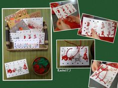 "Threading hole-punched Christmas cards - from Rachel ("",)"