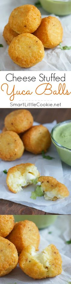 Cheese Stuffed Yuca (Cassava) Balls & Cilantro Dressing