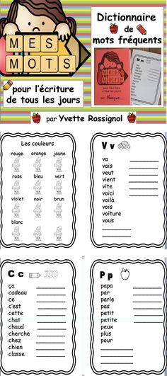 Liste de mots fréquents pour chaque lettre + espace pour ajouter des mots au besoin + un référentiel avec jours de la semaine, mois de l'année, couleurs, famille, mots de position, animaux et sons composés!