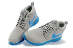 Nike Mens Roshe Run Mid Light Gray Peacock Blue Running
