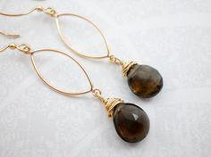 Smoky Quartz Earrings, Gold Dangle Earrings, Long Dangle Earrings, Smokey Quartz Gold Earrings on Etsy, $132.00