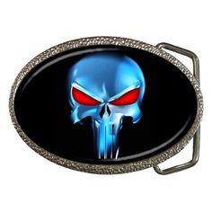 Metal Chrome Belt Buckle Skull The Punisher Custom New | eBay