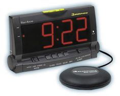 Wake Assure Alarm Clock with Bed Shaker - Black. Flashes a connected lamp to awaken you. Bed Shaker Yes. Alarm Clock Yes. Audio alarm is 85 dB. Alarm Clocks, Alarm Clock Design, Best Alarm, Digital Clock Radio, Ways To Wake Up, Clock Display, Bright Homes, Home Surveillance