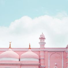 A super dreamy roofline from in to start the day 💕 Pink Bar, Photography Illustration, Start The Day, Daydream, Taj Mahal, Restaurant, Building, Amazing