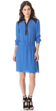 Parker leather trim dress | reg $286, sale $85.80 | sizes xs, s, m