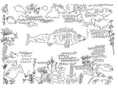 Coloring Pages - Fall Plowing, Goldfish (Klee), Goldfish (