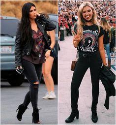 looks para shows de rock com calça jeans preta, podendo ser rasgada ou não, blusinha destroyed e jaqueta preta
