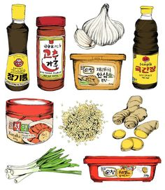 Korean food illustration by May van Millingen Food Illustrations, Illustration Art, Korean Illustration, Sushi Ingredients, Pinterest Instagram, Food Sketch, Watercolor Food, Food Drawing, Korean Food