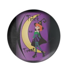 Fun Witch Plate for Halloween.  All graphic designs are copyrighted on my products. #halloween #witch #plate  #pinoftheday #zazzle #gifts #trendy www.zazzle.com/designsbydonnasiggy?rf=238713599140281212