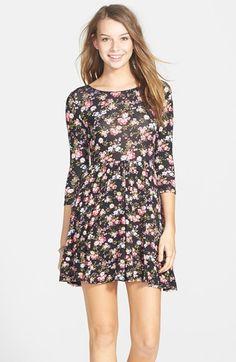 Lush Floral Print Skater Dress