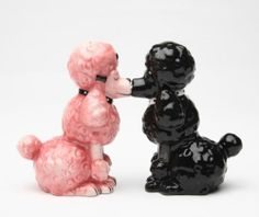 Pink Poodles Dog Magnetic Salt & Pepper Shakers Home Statue Collection Figurine