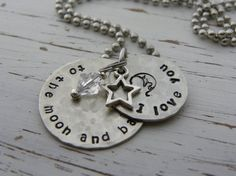 I love you to the moon and back necklace  by WhisperingMetalworks