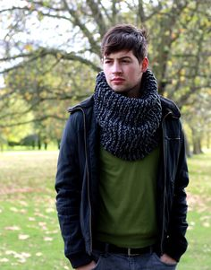 Hand Knit Cowl Scarf, Men s Snood, Winter Accessories, Chunky Cowl, Gray Mix. $65.00, via Etsy.
