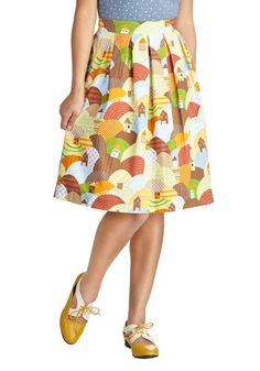 Cafe Cutie Skirt - Cotton, Woven, Mid-length, Multi, Yellow, Green, Brown, Novelty Print, Fit & Flare, Exclusives, Pockets, Vintage Inspired