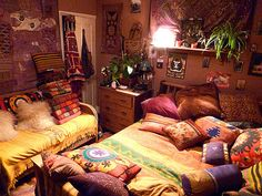 [looks just like my first apartment, bed on the floor and everything...]  lavender hippie/gypsy bedroom