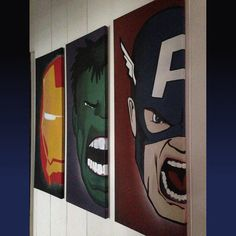 Need some cool wall decor? Get Iron man, Hulk, & Captain America each on their own large 12x32 canvas. Mediums used: spray paint, acrylic, & paint