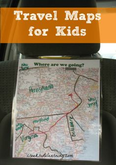 Easy DIY Travel Maps for kids to follow along on your next road trip. #familytraveltips #travelwithkids