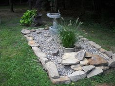 disguising the septic system, landscape, outdoor living, plumbing, Disguising the septic system Add river gravel some stone a great bird bath and wa la Easy to get to when we have to and easy to find now Septic Mound Landscaping, Front Yard Landscaping, Landscaping Ideas, Backyard Ideas, Garden Ideas, Burm Landscaping, Garden Fun, Backyard Patio, House Landscape