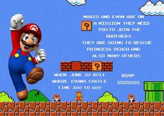 Mario Personalized Birthday Invitation by MadeFromTheHeartxo