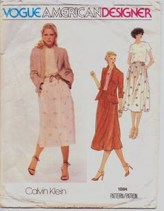 Vintage 70s Vogue American Designer Pattern 1884 Calvin Klein