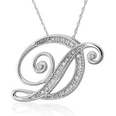 14k White Gold Alphabet Initial D Diamond Pendant Necklace (HI, I1-I2, 0.15 carat)