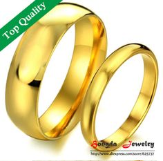 engagement rings Price for 2 pcs factory jewelry gold glossy titanium steel rings couple 18k yellow gold engagement rings