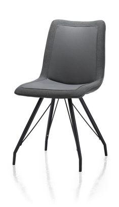Stuhl für Seminarteilnehmer, in grau/orange  Jax, Stuhl - Metall Gestell schwarz- Tatra/Blues combi