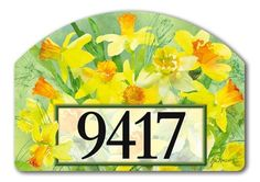 """Daffodils Address Sign by MagnetWorks. $15.99. Includes 2 sets of easy-to-apply self-adhesive address numbers.. Or display as hanging address sign using our Ornamental Address Post.. Magnetic address sign measures 14"""" x 10"""".. Address plaques snap into place onto our Yard Stake.. Yard Designs are vinyl coated for long lasting beauty.. DAFFODILS From Magnet Works Yard DeSigns®Use this interchangeable 14 in. x 10 in. screen-printed magnet with our Metal Yard DeSigns Orname..."""