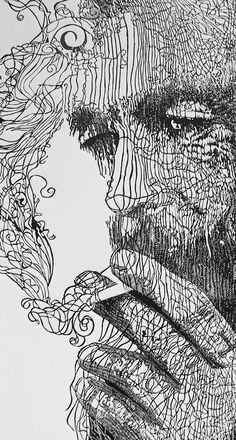 Linogravure - I think this is linocut - detail  By Hubert Tereszkiewicz