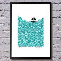 Bigger boat screen print by mengseldesign on Etsy, $72.00
