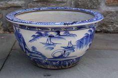 In Bryn Mawr!!    Wonderful-Oversized-Porcelain-Maitland-Smith-Planter-Bowl-Blue-Asian-Design-8