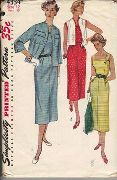 Vintage 1950's Women's Dress and Jacket Pattern,Simplicity 4334 Sewing Pattern, Size 12