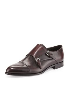 Double-Monk Strap Loafer, Brwon  by Prada at Neiman Marcus.