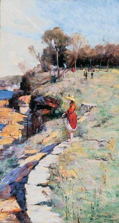 Sunlight Sweet, Coogee by 1890 Australian Impressionist Painter Arthur Streeton Australian Painting, Australian Artists, Landscape Art, Landscape Paintings, Kunst Der Aborigines, Colley, Impressionist Paintings, Oil Painting Reproductions, Aboriginal Art