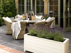 Outside dining and lavender pots - great combo