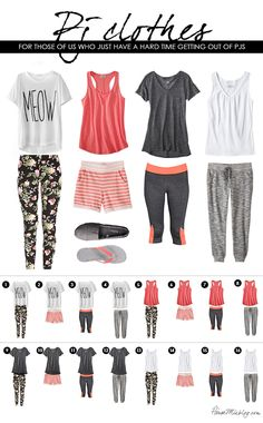 Making it ok to stay in pjs all day. Mix and match pajama-clothes in coral and gray.