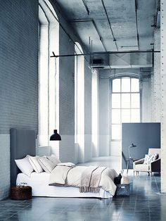 Very modern looking bedroom space with lots of shades of grey throughout. #thegoodsheet #shadesofgrey