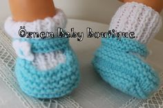 Two  Colored Baby Booties Ready to ship 0 to by OznemHandKnitting, $18.50