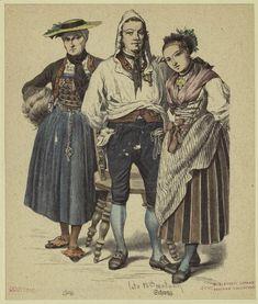 Man and two women from Zug. Zug is a German-speaking city in Switzerland.  Swiss, late 18th century.  Women -- Clothing & dress -- Switzerland -- 1700-1799