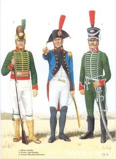 Spanish Army of the Napoleonic Wars (1) 1793-1808 1-Officer, Infantery 2-Private, Light Infantery 3-Trooper, Mounted Chasseurs