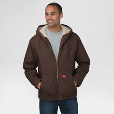Dickies Men's Duck Sherpa Lined Hooded Jacket Big & Tall Chocolate L Tall, Size: LT, Chocolate Heather