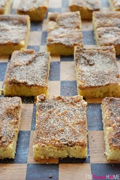 Snickerdoodle Bars ~ soft and chewy treats that are as effortless as spreading batter into a pan and showering with cinnamon and sugar...half the work of the popular cookies with the same yummy flavor and texture!   FiveHeartHome.com