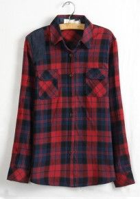 Blue Plaid Buttons Lapel Wrap Cotton Blend Blouse