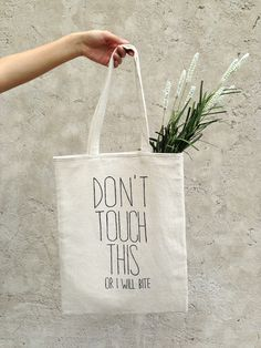Natural cotton tote bag. Perfect market handbag with quote. Funny shoulder bag with text. Trendy street fashion accessory