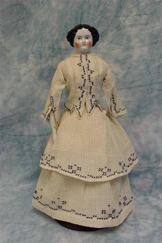 "15-1/2"" Antique CHINA HEAD LADY Doll 1860s Original Cloth Body with China Limbs ebay"
