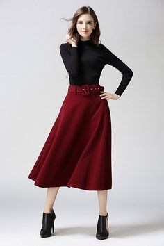 34894fd8d040 Fashion A-line Pure Color Woolen Long Skirt With Belt On