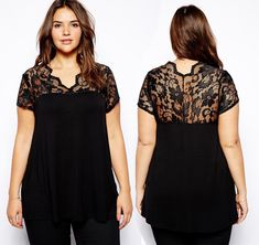 Blouse with lace yoke and sleeves, wear with black skirt or pants for an elegant Plus Size Blouses, Plus Size Tops, Plus Size Women, Moda Fashion, Womens Fashion, Looks Style, My Style, Diy Clothes Videos, Mode Plus