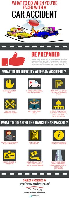 What To Do When you're Faced with A Car Accident (Infographic) http://www.carcluster.com/blog/car-safety/what-to-do-after-an-accident/