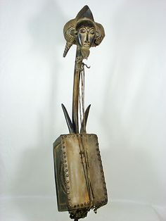 Superb Old African Tribal Art BAULE Figural Harp Collectible